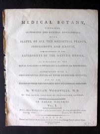 William Woodville Medical Botany 1790 Title Page to Volume 1